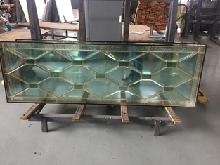 China high quantity wooden door decorative  glass of brass caming 80'*20' for American supplier