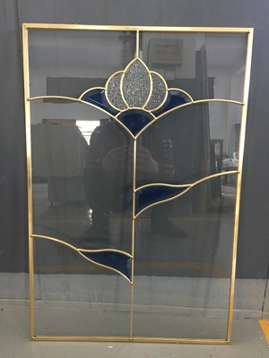 China cabinet door decorative  glass of brass caming 2017new designs supplier