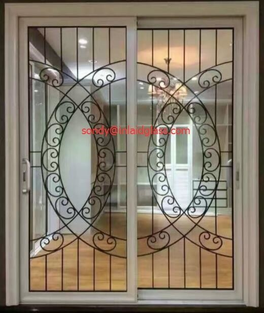 Wrought Iron Glass Panel With 1212 Black Steel Bar In Sliding Door