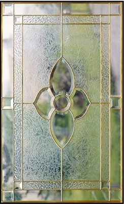 "inlaid glass with clear tempered glass of brass caming 1""thickness"
