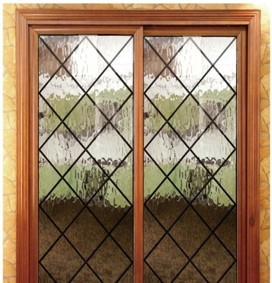 Wrought iron glass panel with  12*12 black steel bar