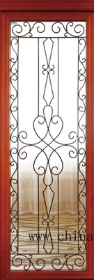 Wrought iron glass in wooden french door