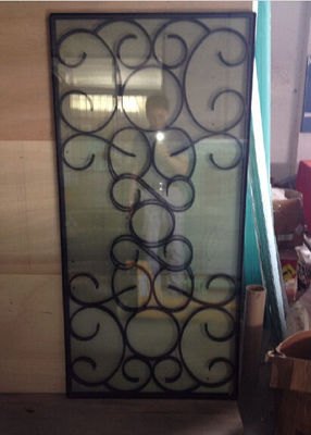 wrought iron glass of 10*10 MM black steel bar