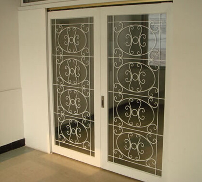 white color wrought iron glass