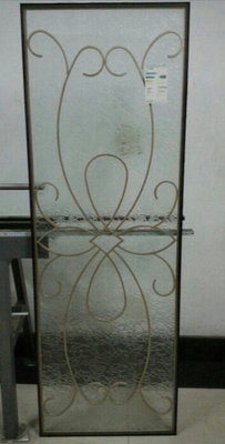 customized golden wrought iron glass in Exterior door