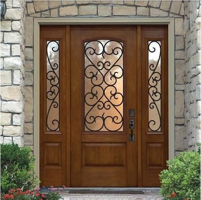 "1"" thickness  wrought iron glass with 10*10 steel  in wooden door"